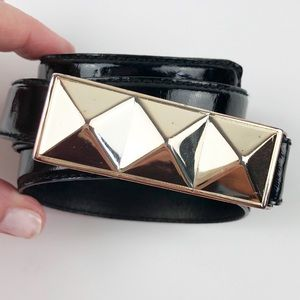 Fossil Black Patent Leather Gold Buckle Belt M